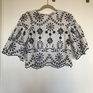 Zara black & white eyelet blouse, XS
